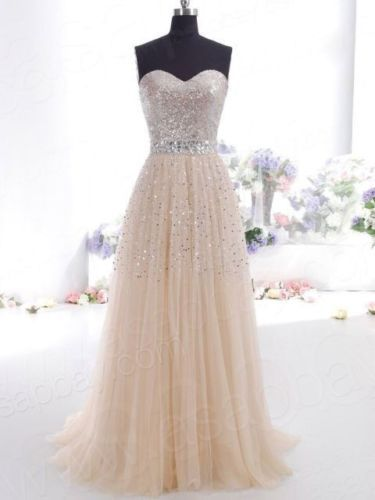 New Champagne Long Prom dress Pageant Party Ballgown Evening Dress Lace up Back