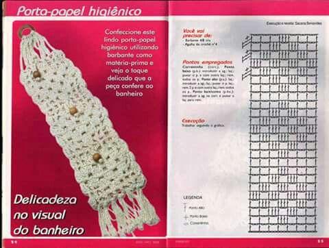 Porta papel higiénico a crochet con gráfico