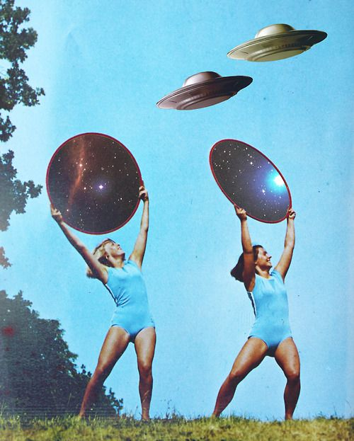 Hmmmmm, The aliens can cross space and time, but they need girls in bathing suits to guide them into the landing.