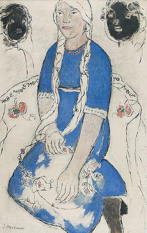 Tadeusz MAKOWSKI (1882-1932)  Petite fille. Siedząca dziewczyna z warkoczami, 1909-1912