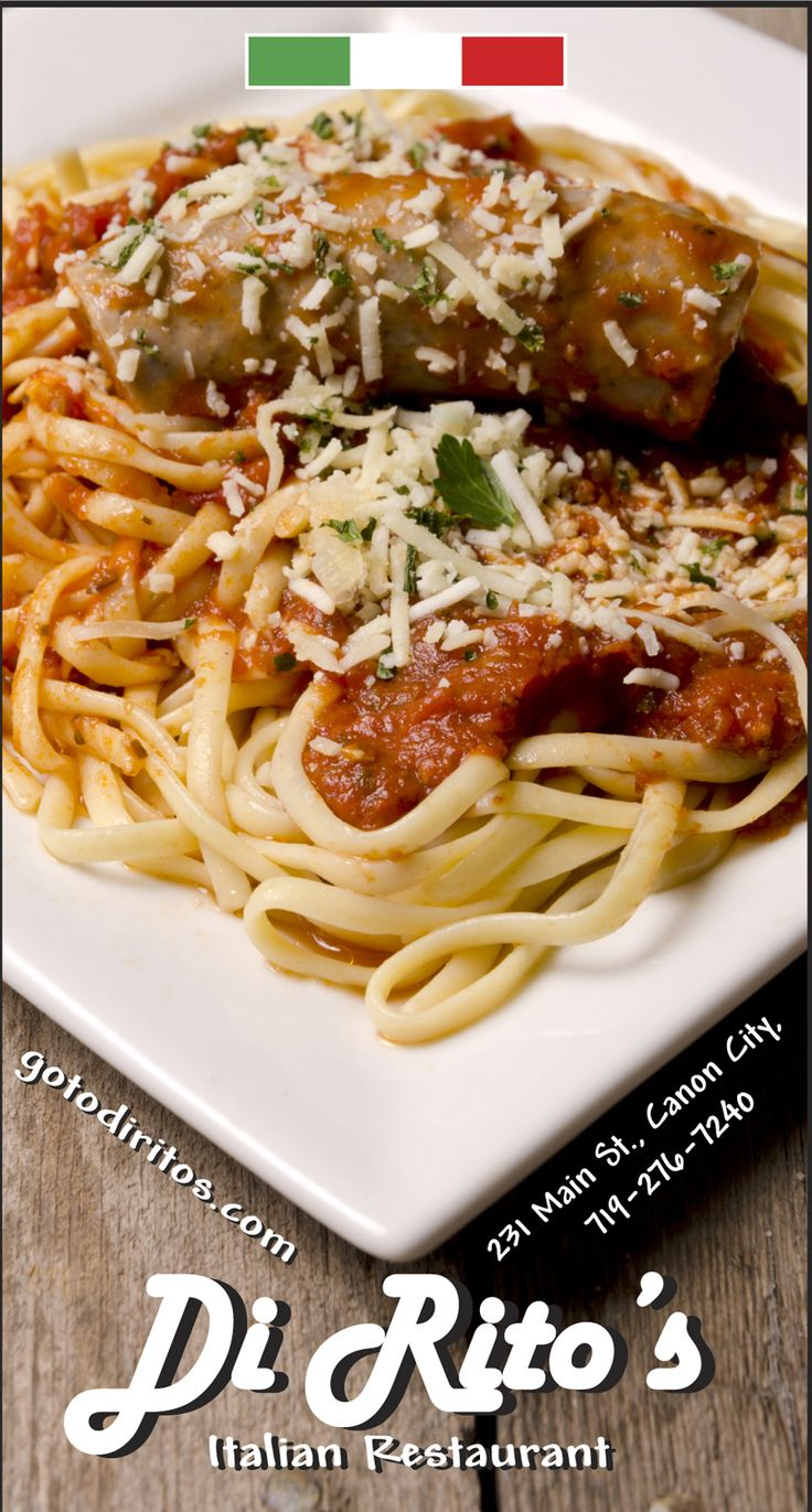 Italian restaurant food photography ad , DiRito's in Canon City, Colorado.  Pasta, spaghetti and sausage gotodiritos.com mistysprouse.com