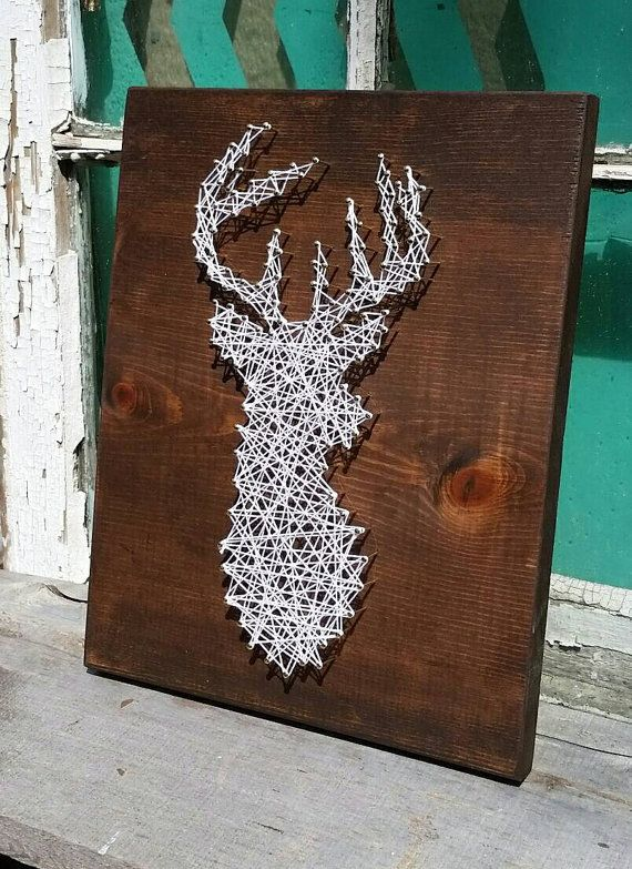String art deer silhouette buck head stag sign by for Diy nail and string art