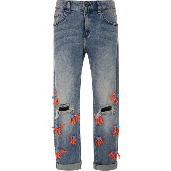 Leal Daccarett Coral Skinny Jeans (38330 RSD) ❤ liked on Polyvore featuring jeans, blue, skinny fit jeans, cuffed skinny jeans, cuffed cropped jeans, cut skinny jeans and skinny jeans