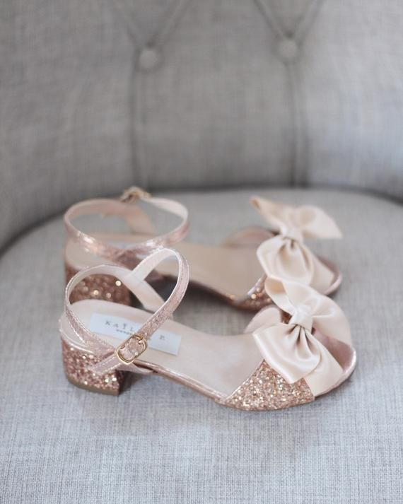 Rose Gold Rock Glitter Block Heel Sandals With Bow Girls Etsy In 2020 Flower Girl Shoes Girls Shoes Online Girls Shoes