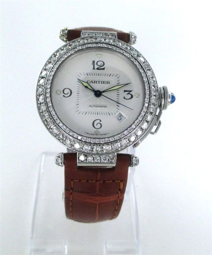 CARTIER PASHA WATCH STAINLESS STEEL 2378 DIAMOND BEZEL LEATHER BAND DATE AUTOMAT #Cartier