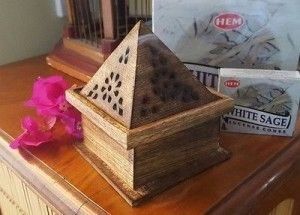 incense cone  holder, wooden and burner, Indian aromatherapy