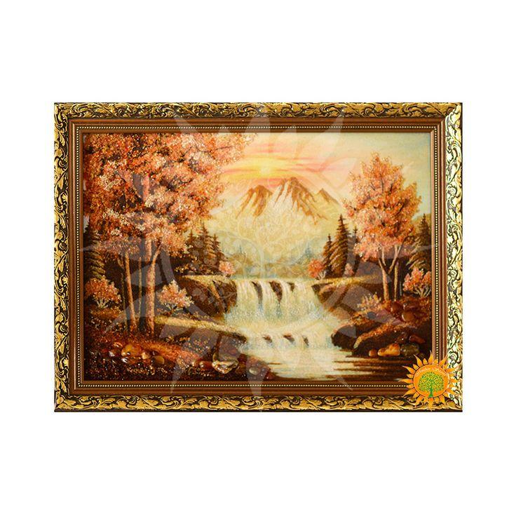 Пейзаж c янтаря Водопад в лесу несет природную энергию солнца, гор, леса и конечно - воды. Янтарные крошки подчеркивают строгость леса, тонкость неба и воды