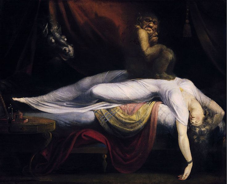 """Henry Fuseli, """"Pesadilla"""", 1781. El pintor romántico suizo provocó gran revuelo al exhibir la figura de una mujer dormida, visitada por una criatura aterradora, en la London's Royal Academy, en 1782."""