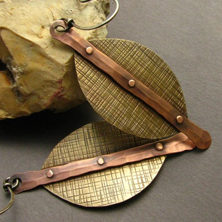 Large Mixed Metal Earrings - Copper, Brass And Sterling Silver Rustic Earrings - Modern Tribal Jewelry