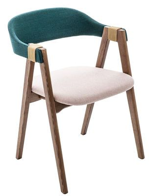 Mathilda Padded armchair - Fabric & wood Sky Blue by Moroso