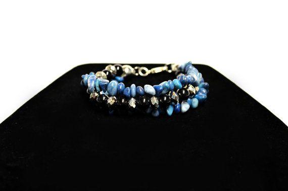 Multi-Strand Aventurine Beaded Bracelet  Blue by FernsAreGreen