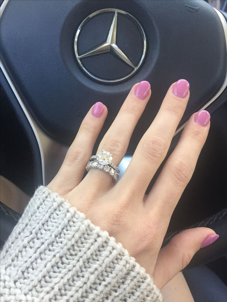 Engagement Ring Simple brilliant round 2 .19 carat solitaire with pave band & infinity wedding band
