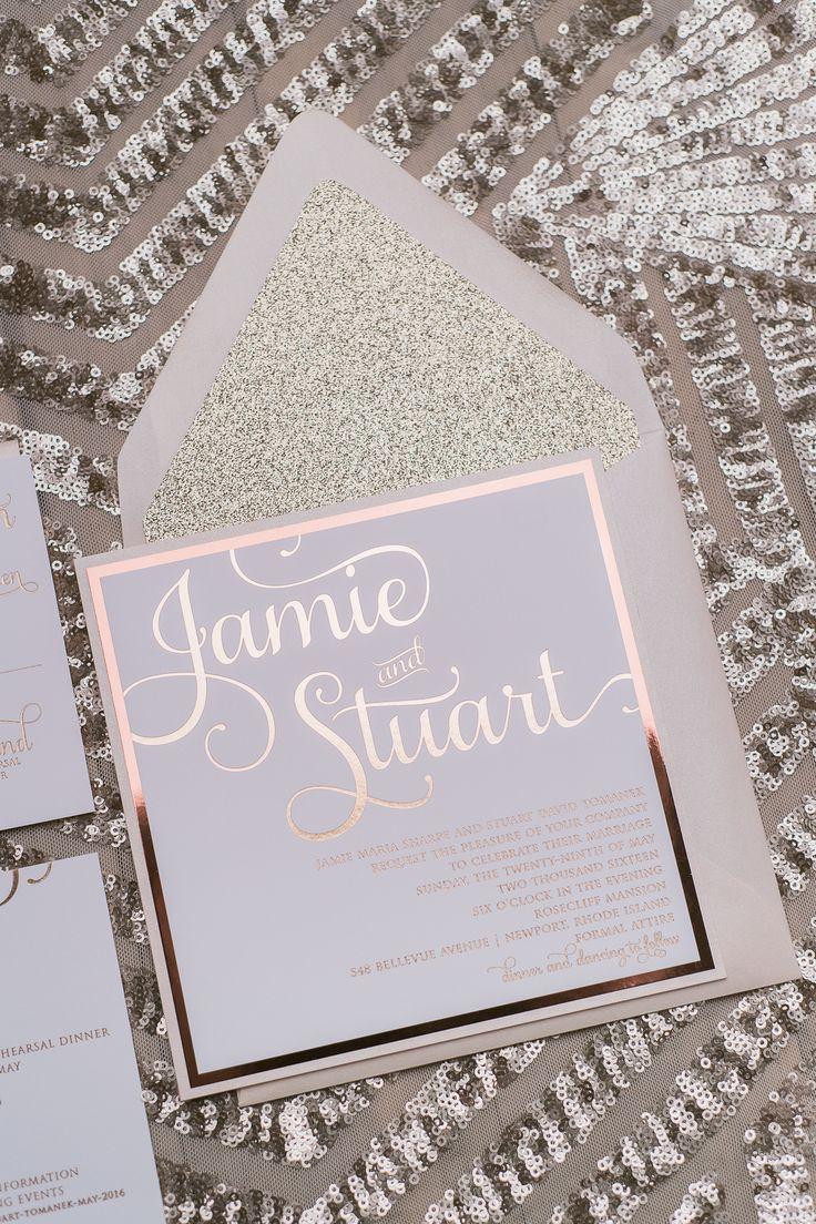 Wedding invitations, Rose Gold Foil, Rose Gold Glitter, Wedding Trends, Adele Suite, Just invite Me