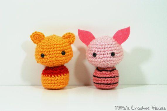 Crochet Pooh and Piglet Amigurumi Dolls by MilliesCrochetHouse