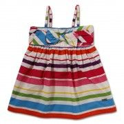 This multi color striped dress from Vitamins is perfect to flaunt your little diva's summer style. Made of cotton, this is comfortable to wear and its multi colored strap, bow embellishment makes it fabulously stylish. Team it up with a nice pair of ballerinas for a classy look.
