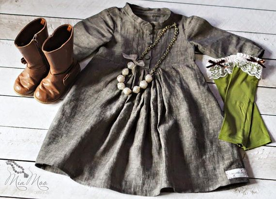 Girls Clothing... Black Linen Pintuck Dress... Fall Winter... Toddler... Girls... by Dogwood Lane... love the boots!