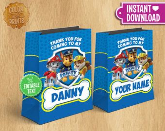 Paw Patrol Gift Bag - Instant Download - Customizable Paw Patrol Birthday Party Favor - Chase Rubble Marshall - EDITABLE TEXT