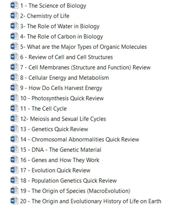 Biology literature review outline