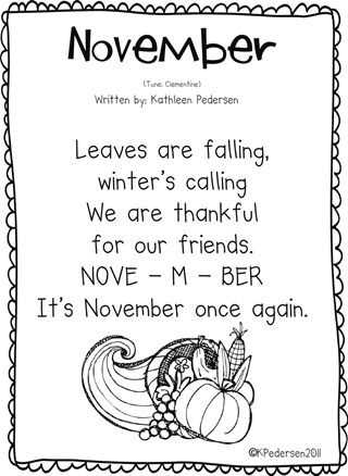 November Song--she has songs like this for every month as part of her kinder class calendar routine.