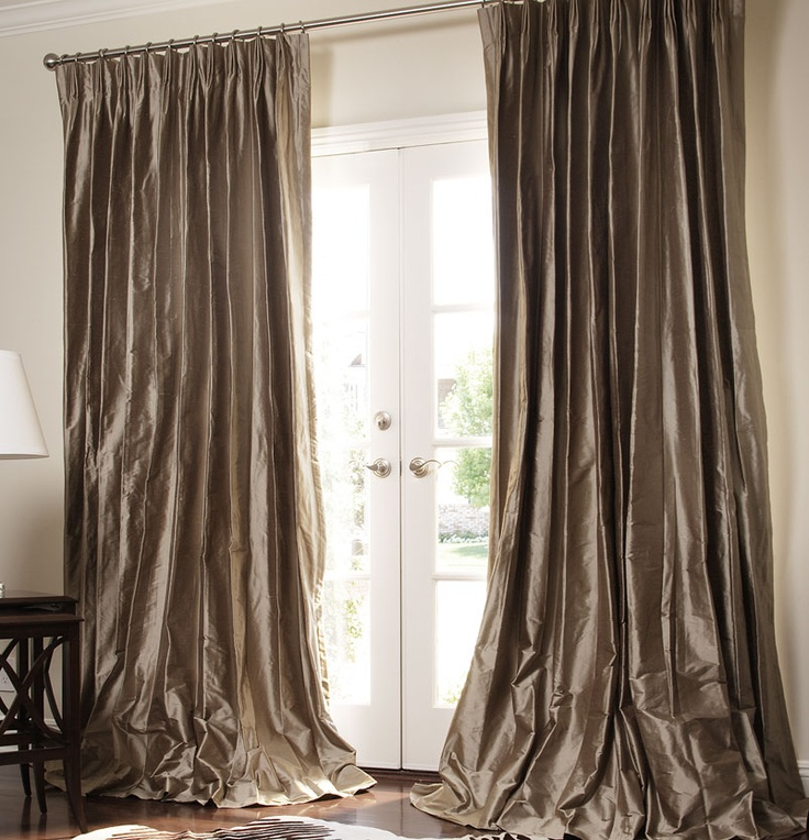 Superb Solid Silk Custom Drapes By DrapeStyle In Bronze Dupioni, Parisian Pleat, 6  Inch Puddle