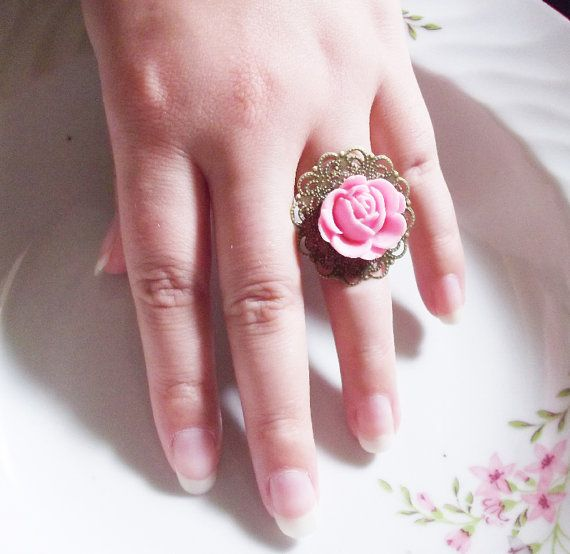 pink rose ring by rabbitsillusions on Etsy