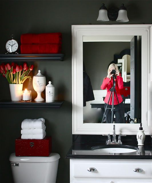 The Yellow Cape Cod: My Powder Room Makeover Reveal~I love this remodel. The neutral walls allow for the change out of decor and color! Of course I love this red and gray!
