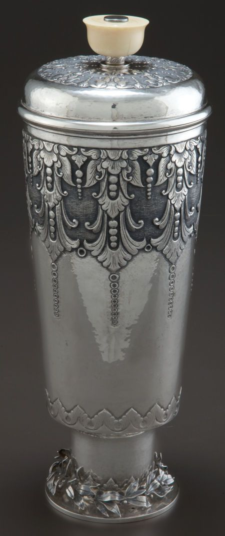CONTINENTAL SILVER AND IVORY COVERED BEAKER . Maker unknown, circa 1880