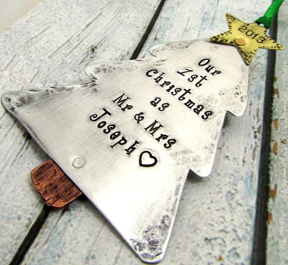 Our First Christmas Ornament - Couples Christmas Ornament - Hand Stamped Personalized Ornament First Christmas as Mr and Mrs (801) on Etsy, Sold