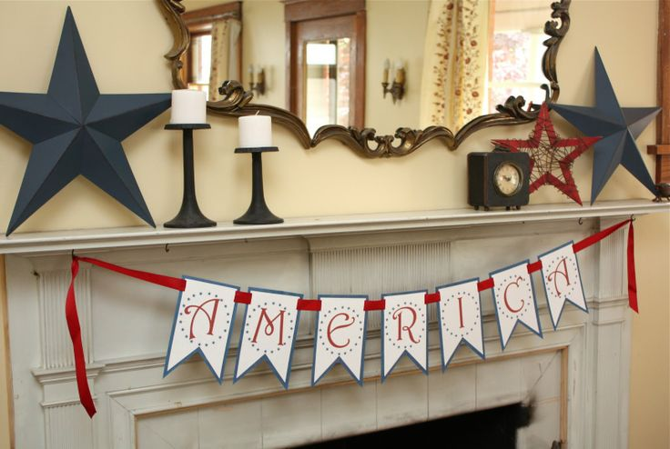 4th of July: Mantels, Idea, America Banners, Fourth Of July, Stars, Banners Free, 4Th Of July, July 4Th, Free Printable