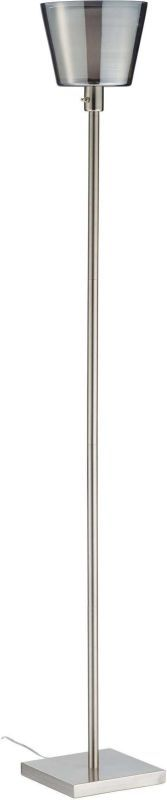 """Adesso 1515 Prescott 1 Light 23"""" Tall Torchiere Floor Lamp with Smoked Mercury G Brushed Steel Lamps Floor Lamps"""