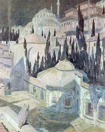 "Ressam Namık İsmail'in ""Mehtapta Cami"" isimli yağlıboya eseri, 1925.  #Namıkİsmail #Resim #Ressam #Eser #FineArt #Mehtap #Cami #Painter #Art"
