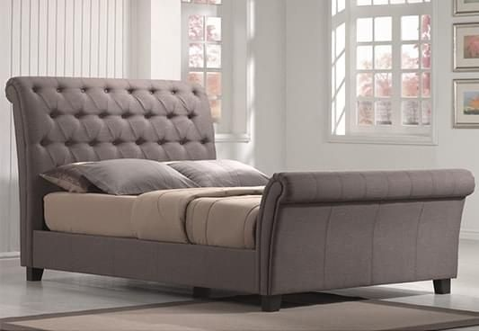 Select Brendan Upholstered Bed available in Queen Size with decent touch of Grey. The #UpholsteredBeds induce an exquisite charm with their presence alone to the bedroom interiors. Shop #FabricBed Online in #Pune #Delhi #Chennai