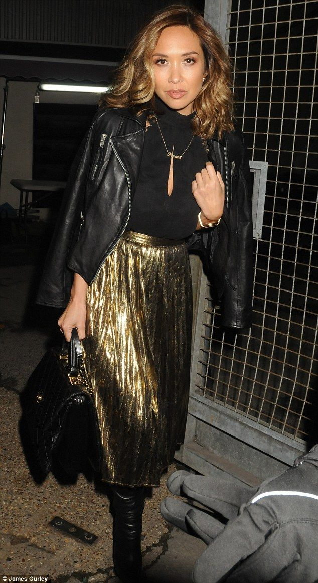 Looooooove Myleene's gorgeous golden pleated midi skirt from her own collection for Littlewoods