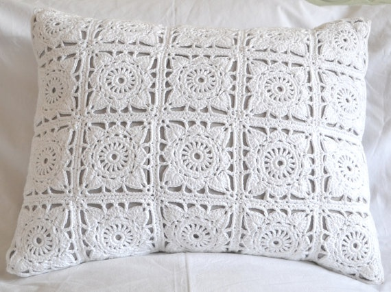 Doilie Square Crochet front cushion cover with cotton by lovelolla, $40.00