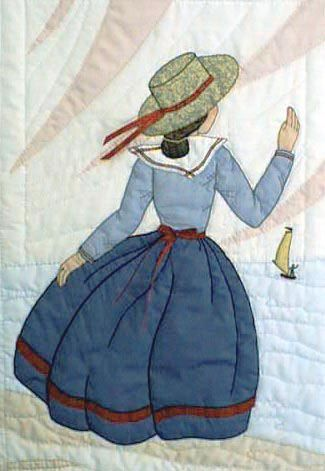 """#5 """"New Bonnet Girl Cousins"""" Janelle $6.50.  Janelle is standing on the seashore waving to her friends in the sailboat. Shadow appliqué is used in the lake, sky, and rocks."""