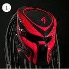 Alien Predator Motorcycle Helmet Street Fighter - Red with Black