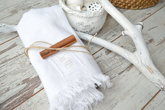 Softened high quality thick linen towel with fringes.  Super soft! -Stonewashed Hand/face linen towel. Colour - white .  This listing is for ONE