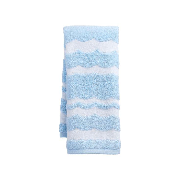 Destinations Wave Scallop Hand Towel, Blue