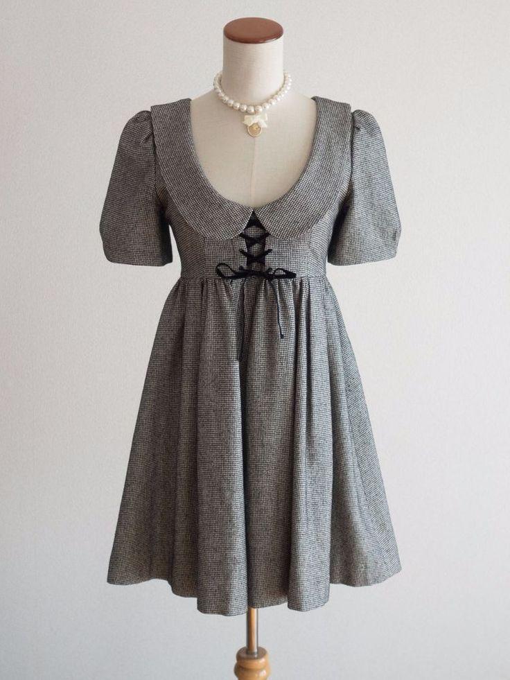 Jill StuartHoundstooth Wool Mix Dress Japan Size M Romantic Lolita Hime Gal #JillStuart #Peplum #Shibuya109Lolitafashion