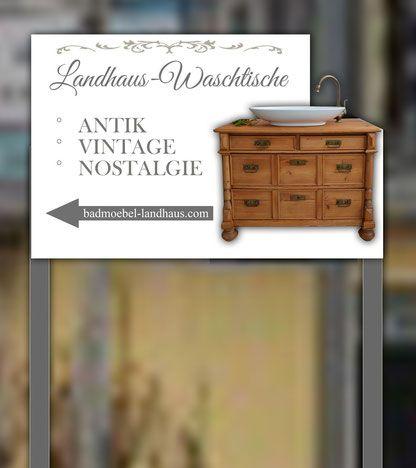 Liebevoll Aufgearbeitete Antike Badmöbel Im Landhaus , Vintage  Und  Shabby Chic Stil