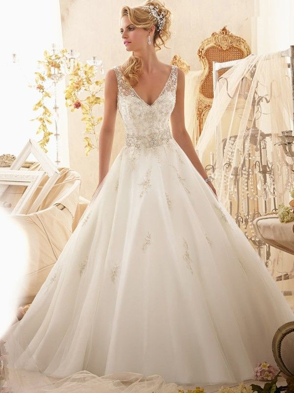 Ball Gown Straps Sleeveless Court Train Beading Organza Wedding Dresses