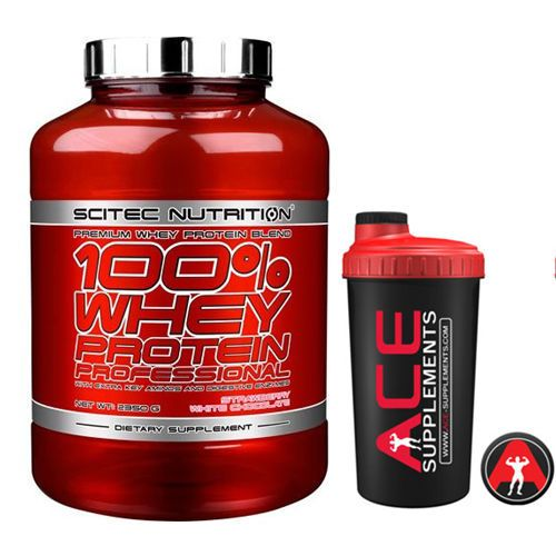 Scitec Nutrition 100% Whey Protein Professional All Sizes + Free Shaker