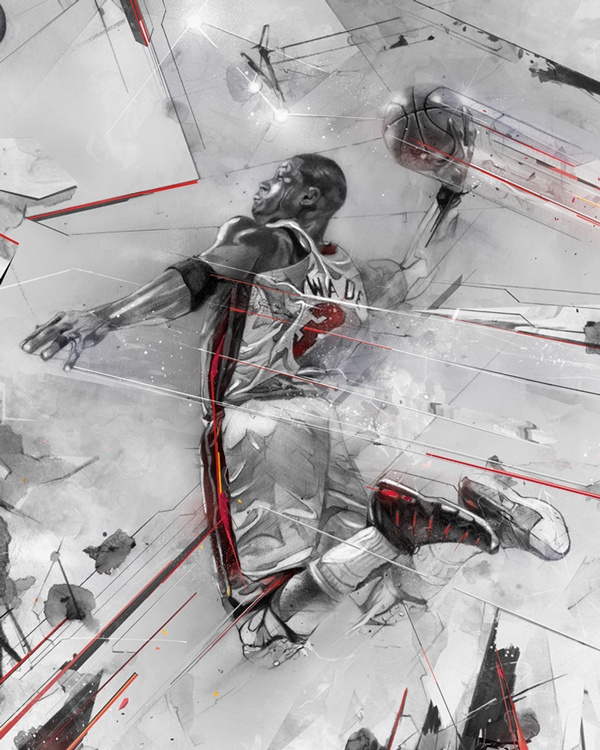 Miami Heat guard Dwyane Wade limited edition art by Alexis Marcou, available at RareInk.com. $69.