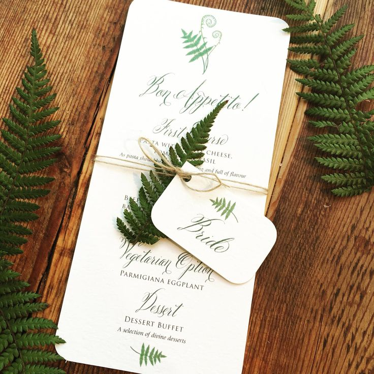 Our Woodland Botanical Fern Wedding Menu is simple and rustic, the Save the Date Luggage Label and Menu features our forest fern illustration and is printed on a textured Ivory Card, the Save the Date is supplied with a brown kraft envelope. Both can be finished with organza ribbon or brown twine. Perfect for an outdoor wedding or a ceremony in the woods. Contact us for more items in this design.