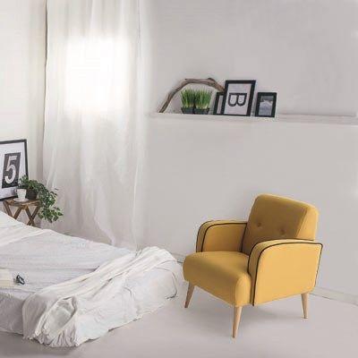 La butaca Nani tiene un estilo cómodo y divertido, con un cierto aire vintage.