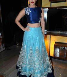 Buy Blue embroidered net unstitched lehenga choli bollywood-lehenga online