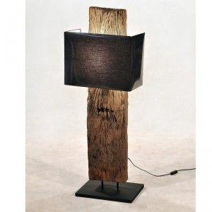 Lampadaire bois de chemin de fer 1 abat jour pas cher en vente chez Origin's Meubles