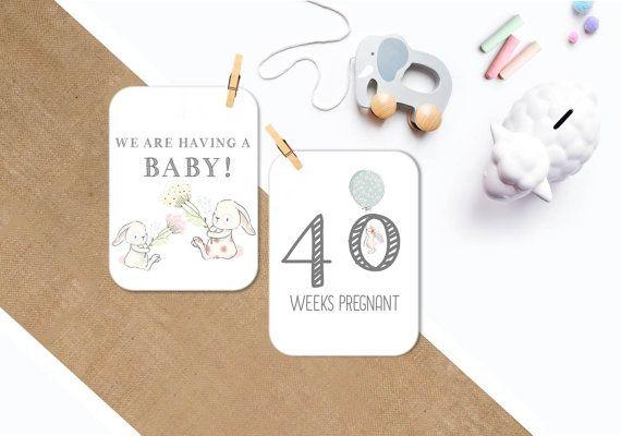 Pregnancy Milestone 5×7 cards 25 x Photo by PrettyLaneWeddings  – Correspondance