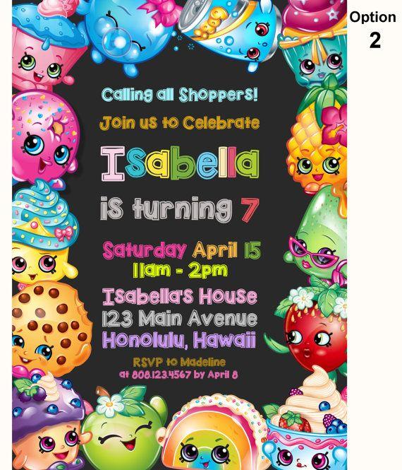 Invitación del cumpleaños de Shopkins por StrawberryPartyPrint