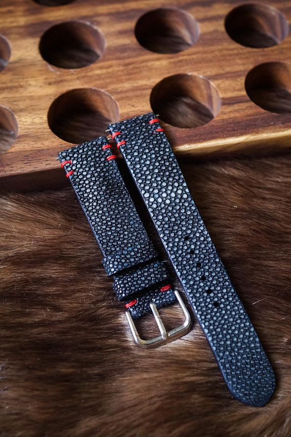 50a90b639 Black Stingray Leather with Red Stitching Handmade Watch Strap Watch Band  for 20mm Lug Watches Men/
